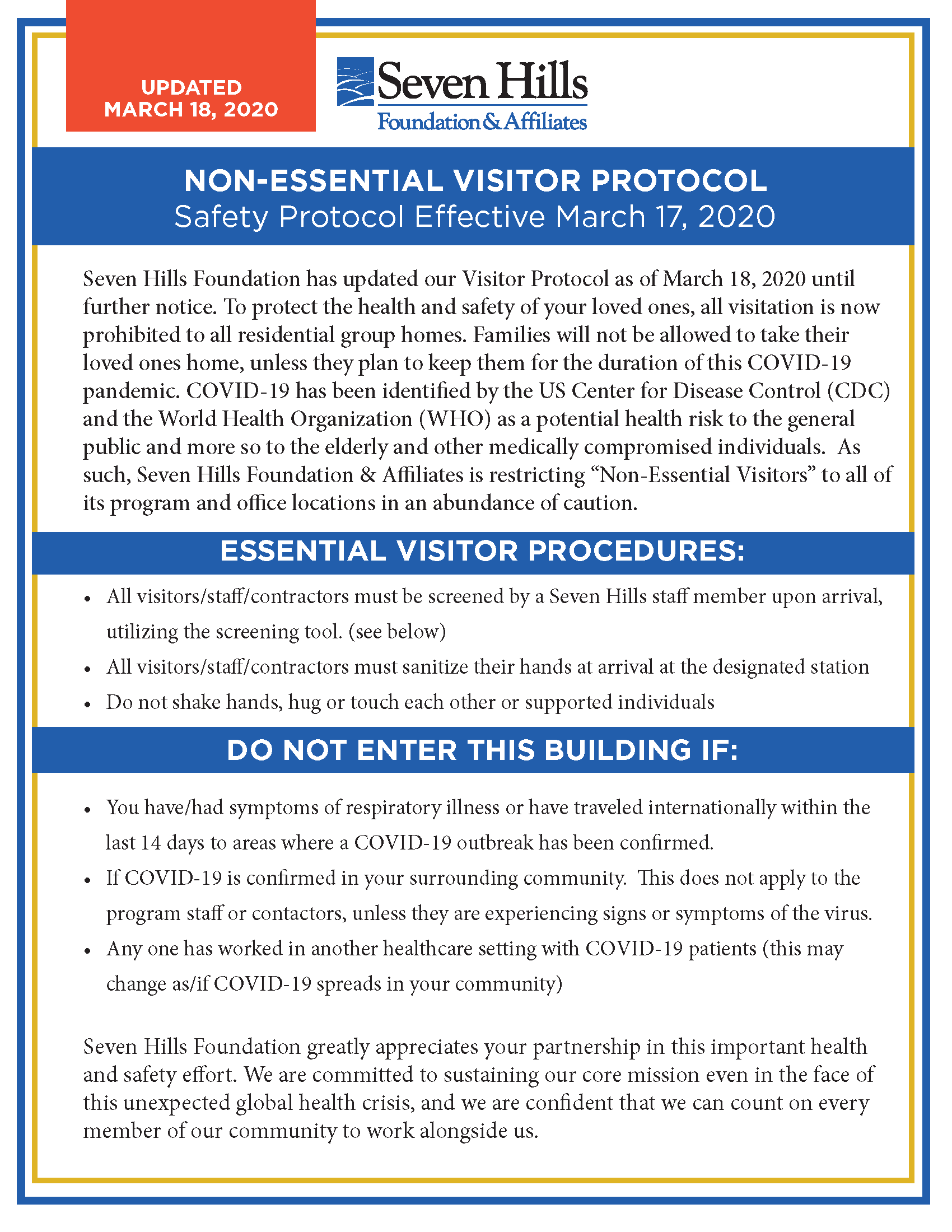 COVID19 protocol poster